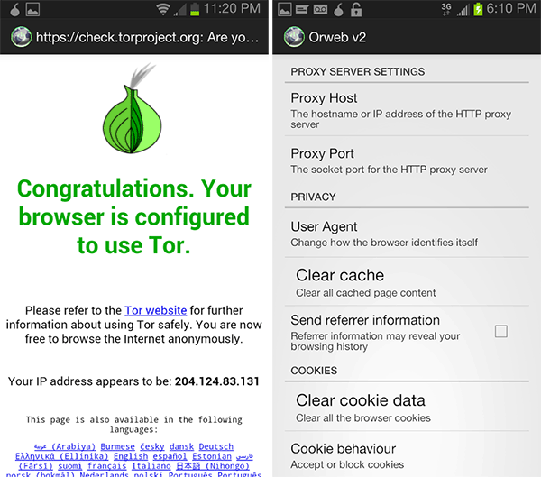 Tor для Android